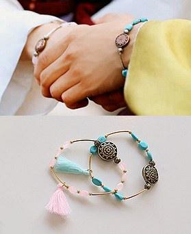 1045090 - <BC642_S> Moonlight gemstone tassel bracelet