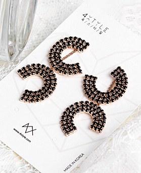 1048848 - <ER2137_CD09> [Silver Post] double mr line earrings