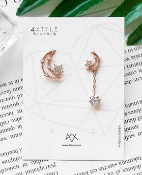 1048863 - <ER2140_DH16> [Silver Post] Fring Luna Unbalanced earrings
