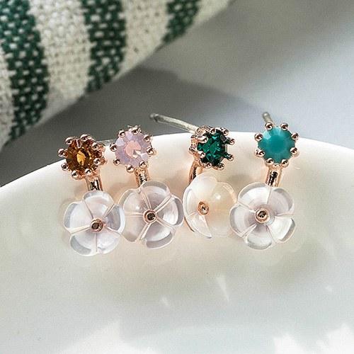 1048910 - <ER2143_DD29> [Silver Post] Mini pearl Flower earrings