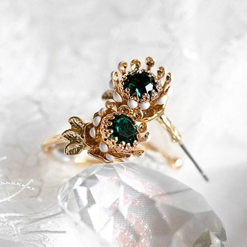 1048911 - <ER2142_DD28> Flo crystal ring earrings