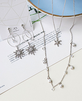 1048926 - <JS343_IG06> [earrings + necklace] crystal snow set