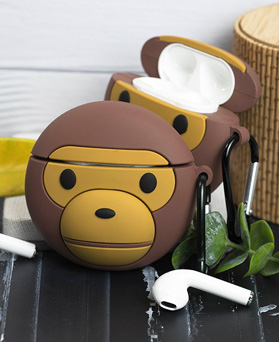 1048942 - <AP0455> Brown Monkey AirPods Compatible Case