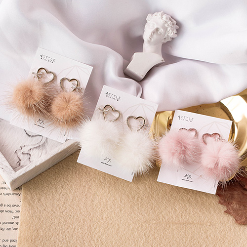 1048962 - <ER2152_CB08> lovely mink earrings
