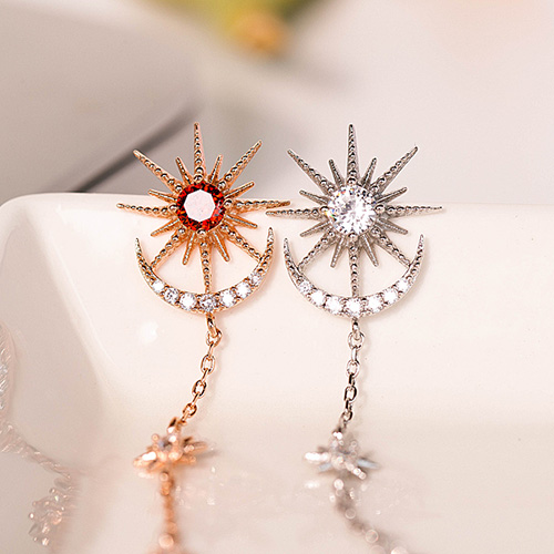1048980 - <ER2147_DD30> [Silver Post] sunny shine long earrings