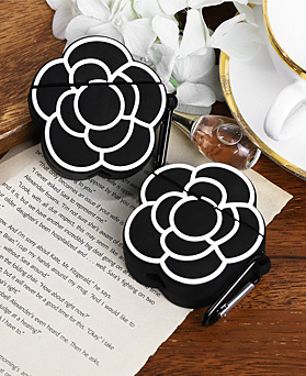 1048989 - <AP0468> black line Flower AirPods compatible case
