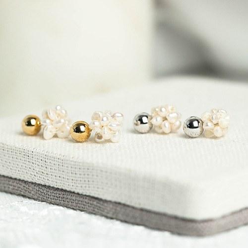1049007 - <ER2158_DK16> Mini ball pearl earrings