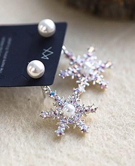 1049031 - <ER2155_DA16> [Silver Post] opal snow flower two-way earrings