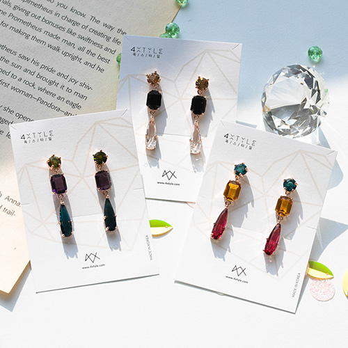 1049054 - <ER2144_DD26> [clip type] mono crystal earrings