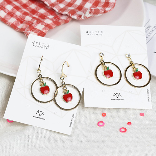 1049061 - <ER2161_DF26> [clip earring] [handmade] apple round earrings