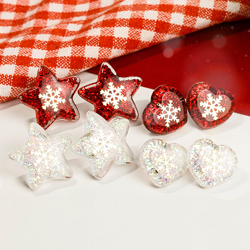 1049074 - <ER2165_CC12> bling snow earrings