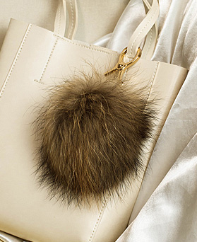 1049104 - [handmade] raccoon fur bag charm key ring