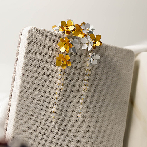 1049127 - <ER2176_CF06> [handmade] Flower cluster earrings