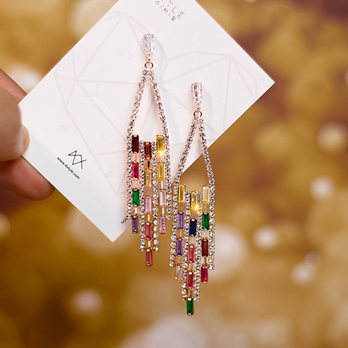 1049146 - <ER2178_DJ01> rainbow chandelier earrings