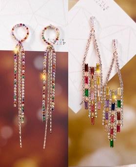 1049146 - <ER2178_DJ01> rainbow chandelier earrings