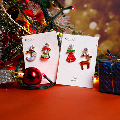 1049155 - <ER2179_DD07> Christmas Bell Unbalanced earrings