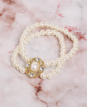 1049179 - <BC801_HH06> antique 2 line pearl bracelet