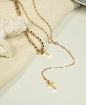 1049195 - <NE578_BC12> [2Piece 1set] unique cross necklace