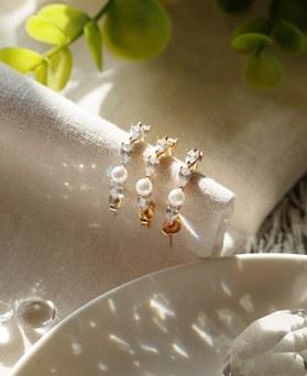 1049215 - <ER2181_DH20> [Silver] Marona pearl ring earrings