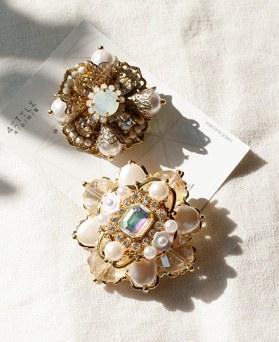 1049272 - <FI299_FA09> antique pearl crystal brooch
