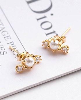 1049275 - <ER2186_DJ08> [Silver] triple pearl earrings
