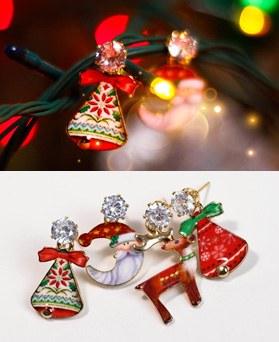 1049296 - <ER2179_DD07> [clip earring] Christmas Bell Unbalanced earrings