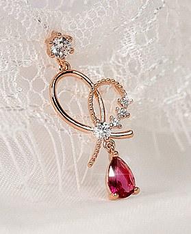1049300 - <ER2174_DF27> clip earring rhyme heart earrings