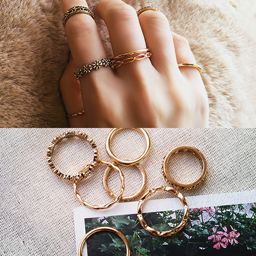 1049317 - <RI870_JB26> [7Piece 1set] antique Flower ring