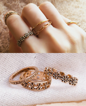1049317 - <RI870_JB26> [7Piece 1set] antique Flower ring