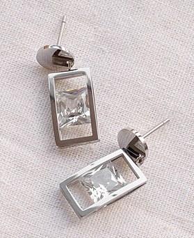 1049319 - <ER2184_DG26> [Stainless steel] round square crystal earrings