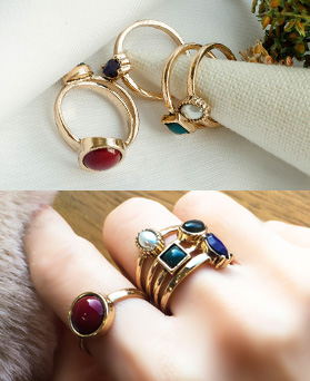 1049321 - <RI869_JE26> Ron 5Piece 1set Color stone ring