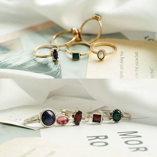 1049321 - <RI869_JE26> Ron 5Piece 1set Color stone ring