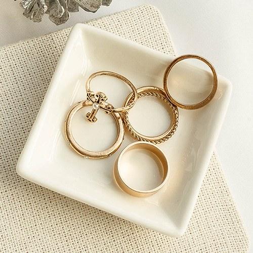 1049322 - <RI868_JE26> [6Piece 1set] antique pearl cross ring