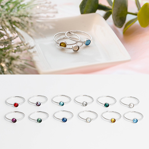 1049384 - <RI874_JH02> [Swarovski] [Silver] daily birthstone ring