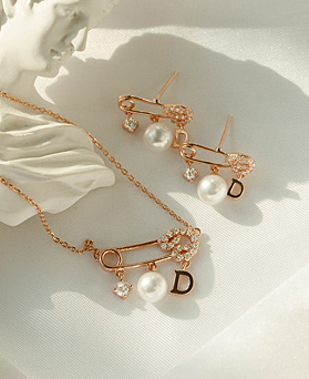1049388 - <JS348_IF14> [earrings + necklace] [Silver chain] [Silver Post] uni clip type pearl set