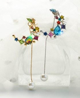 1049407 - <ER2192_DG28> moon crystal pearl two-way earrings