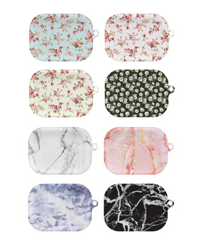 1049425 - <AP0563> Flower and Marble Design AirPods Pro Compatible Hard Drive Case