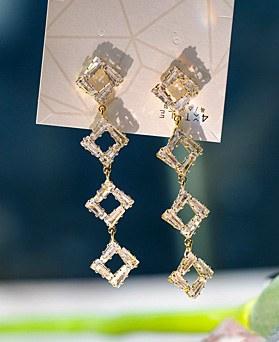 1049429 - <ER2190_CC12> crystal square long earrings