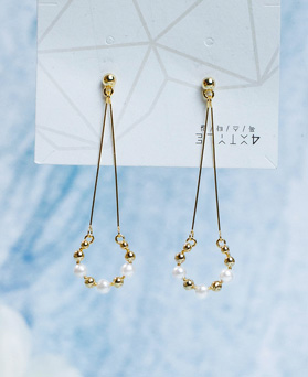 1049430 - <ER2189_DG30> [Silver Post] round pearl drop earrings