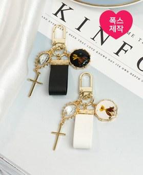1049436 - <AP0567> [handmade] leather cross flower key ring