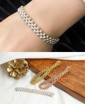 1049441 - <BC803_IG13> [Silver] 3 line ball bracelet
