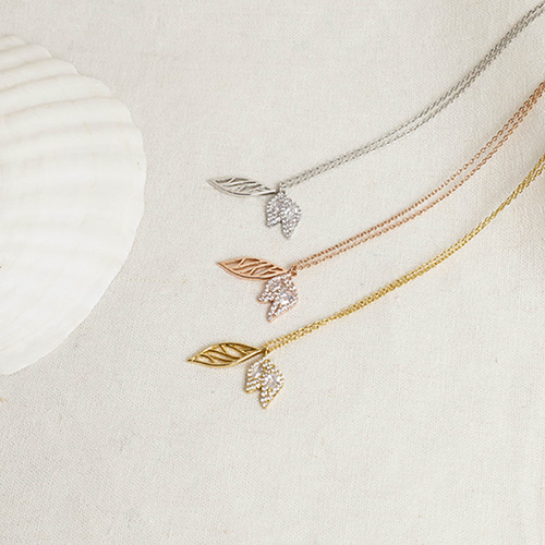 1049445 - <NE590_IG17> Silver chain prim Leaf necklace