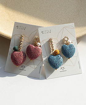 1049469 - <ER2205_CD21> Volcanic heart Unbalanced earrings