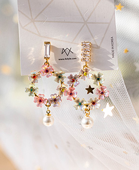 1049470 - <ER2206_CG10> Eclo Flower Unbalanced earrings