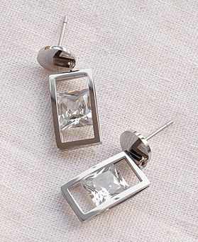 1049493 - <ER2184_DG26> clip earring stainless steel round square crystal earrings