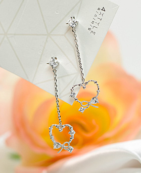 1049496 - <ER2188_DG29> clip earring Lumine heart drop earrings