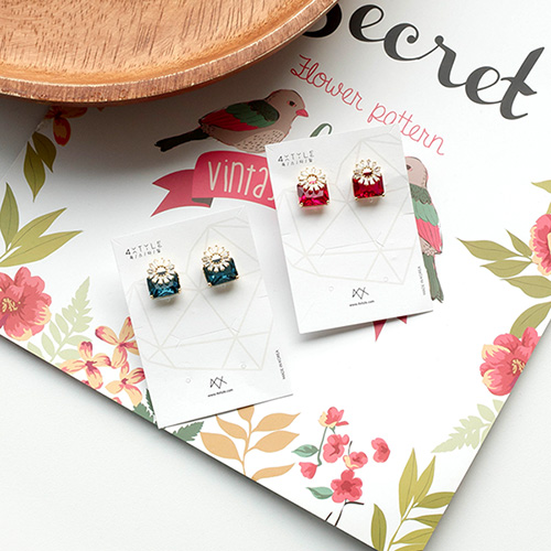 1049497 - <ER2191_DG23> clip earring fleece square crystal earrings