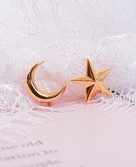 1049507 - <ER2212_DH29> [Silver] Rune star Unbalanced ring earrings