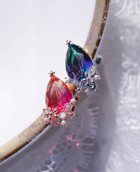 1049510 - <ER2215_GJ01> tear Flower clip earring