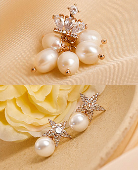 1049522 - <ER2217_CF08> bright pearl earrings